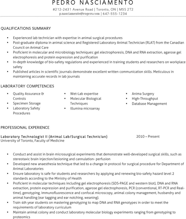 Sample Lab Technician Resume