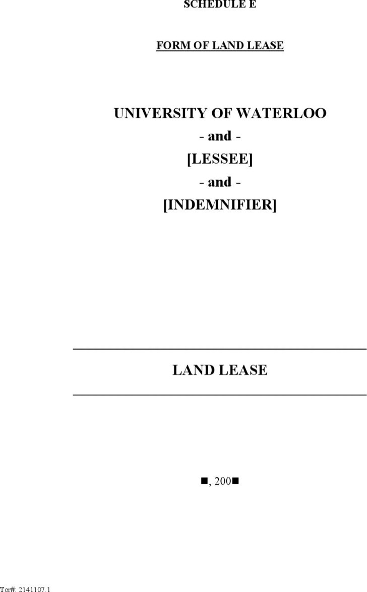Sample Land Lease Template