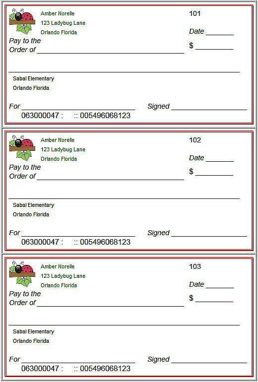 Sample lank Cheque Template