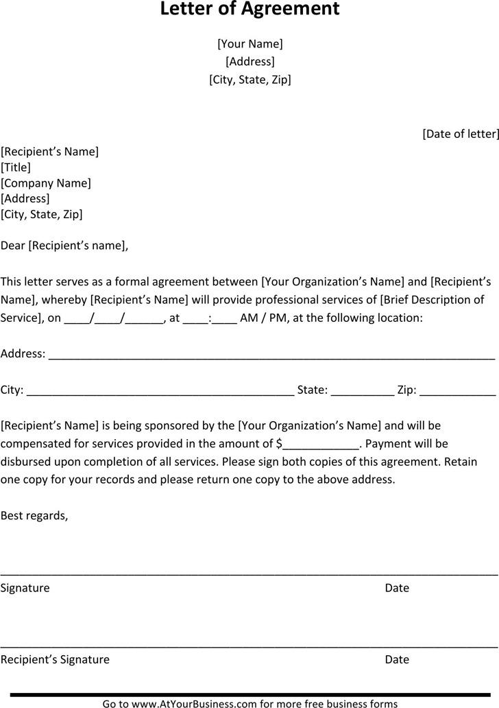 Sample Letter of Agreement 1