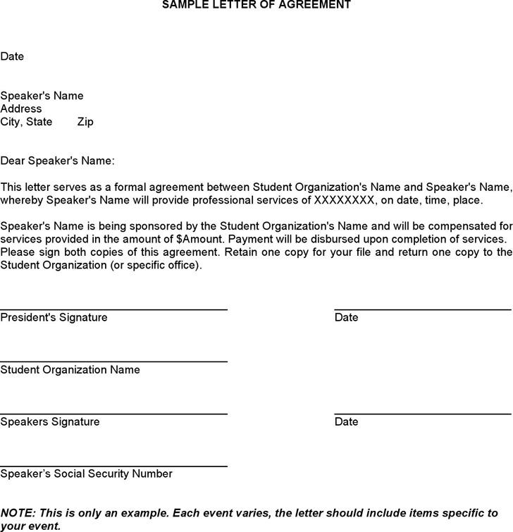 Sample Letter of Agreement 2