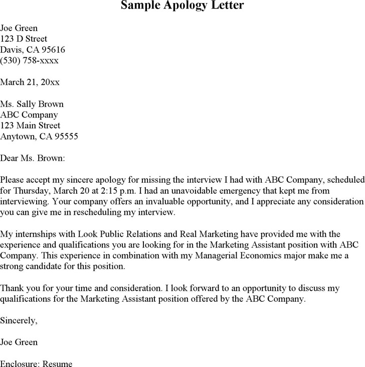Sample Letter of Apology for Missed Interview 2