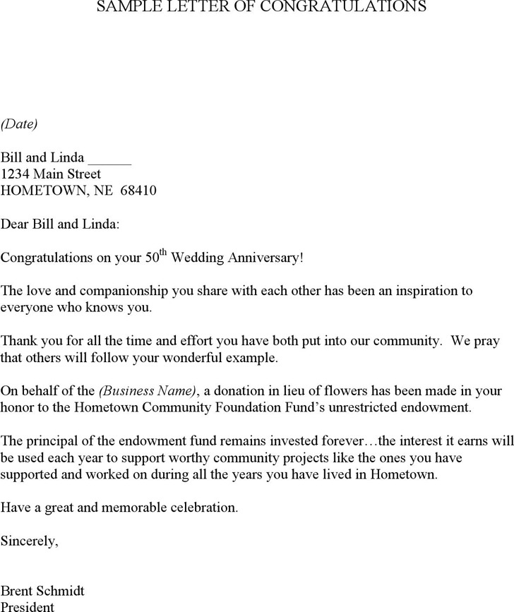 Sample Letter of Congratulations