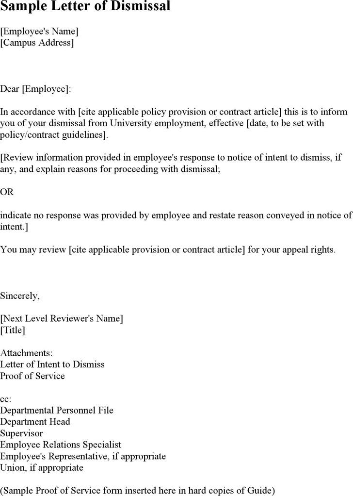 Sample Letter of Dismissal