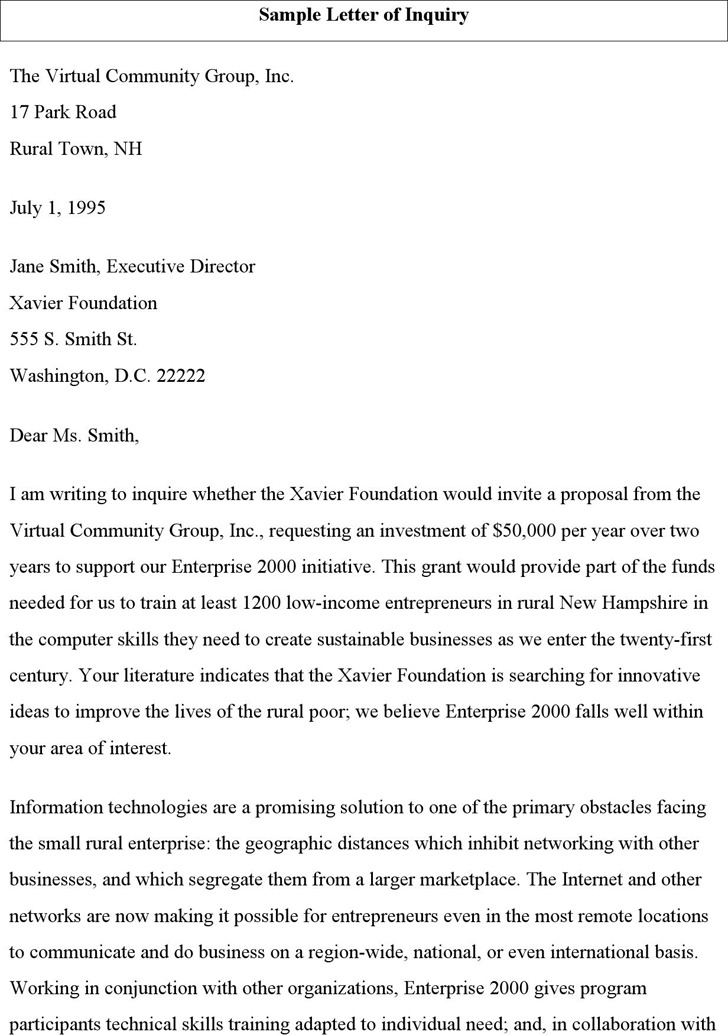 Sample Letter of Inquiry 2