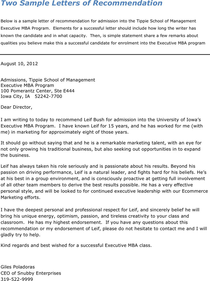 Sample Letter of Recommendation For Admission