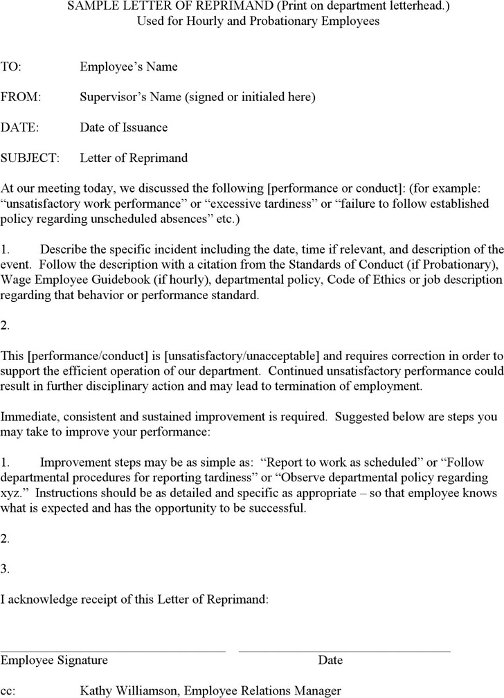 Sample Letter of Reprimand