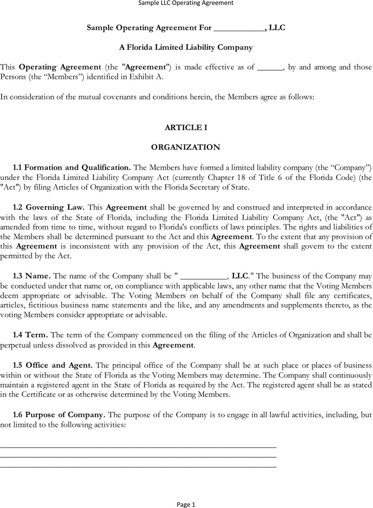 3 Llc Operating Agreement Free Download