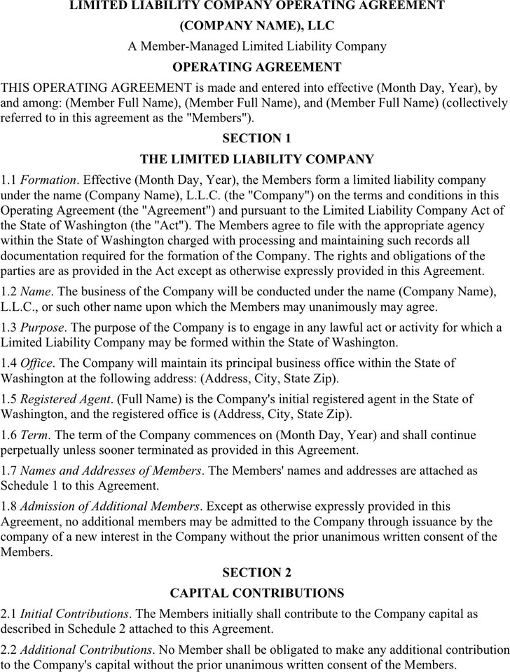 Limited Liability Company Operating Agreement