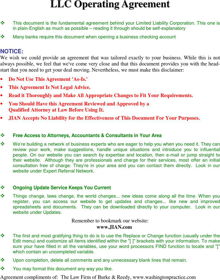 3 Llc Operating Agreement Free Download
