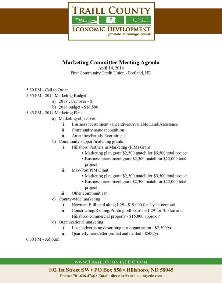 Sample Marketing Budget Meeting Agenda