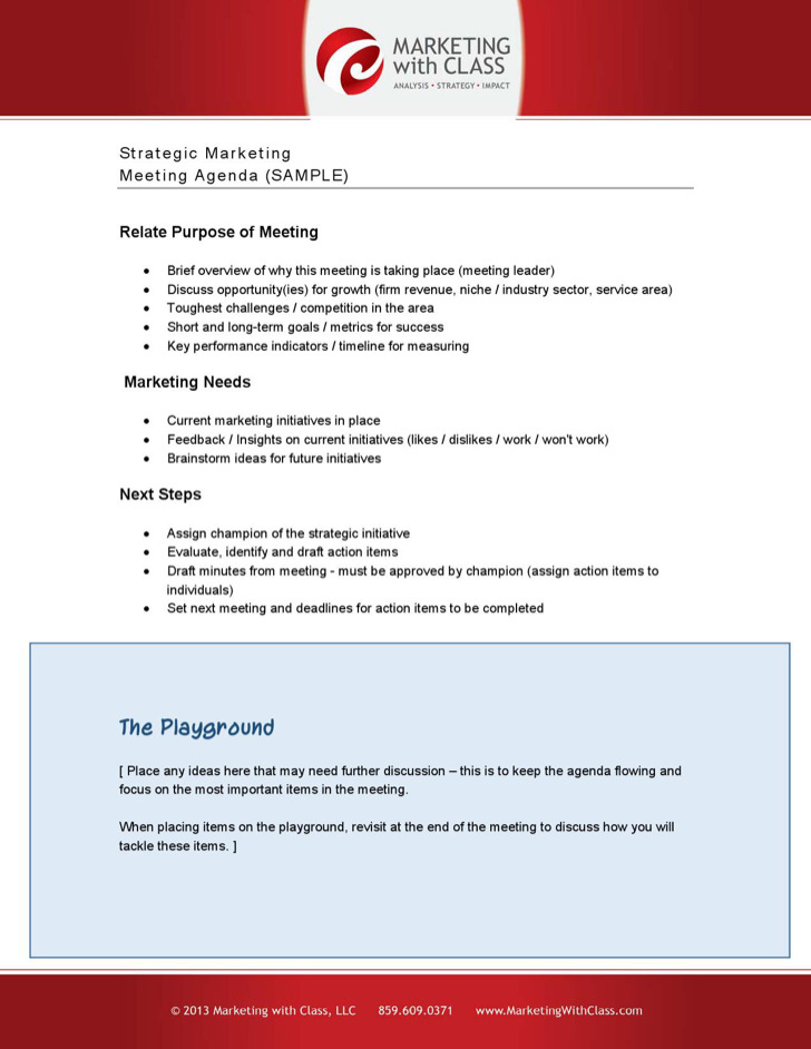 Sample Marketing Strategy Meeting Agenda