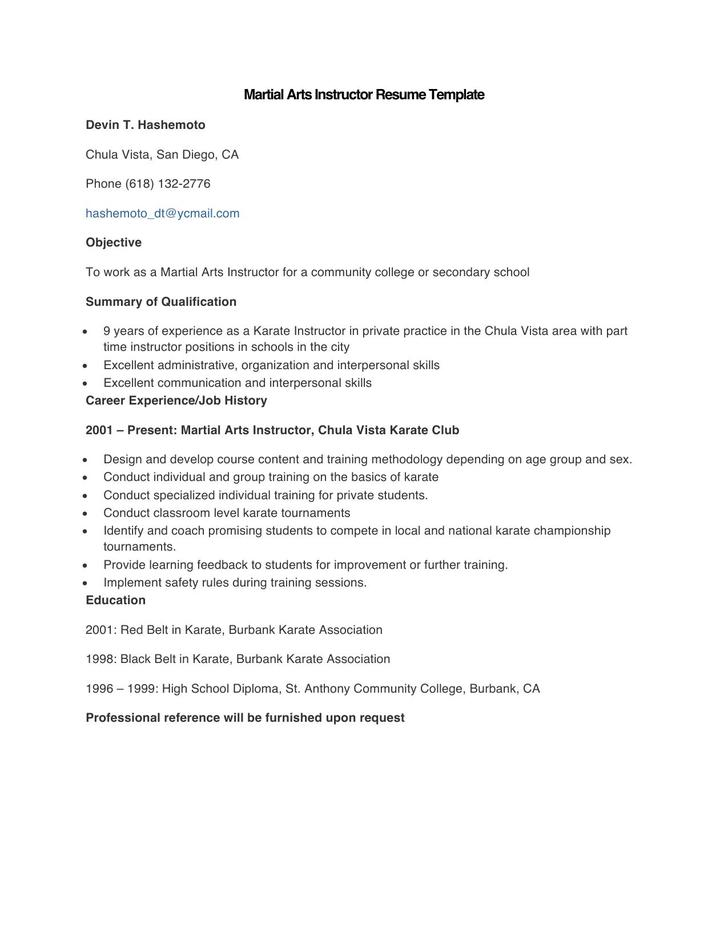 Sample Martial Arts Instructor Resume Template