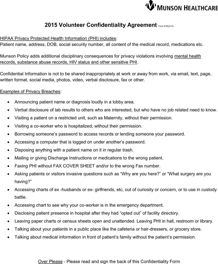 Sample Medical Volunteer Confidentiality Agreement