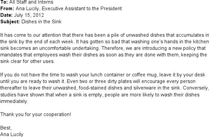 Sample Memo to Coworkers