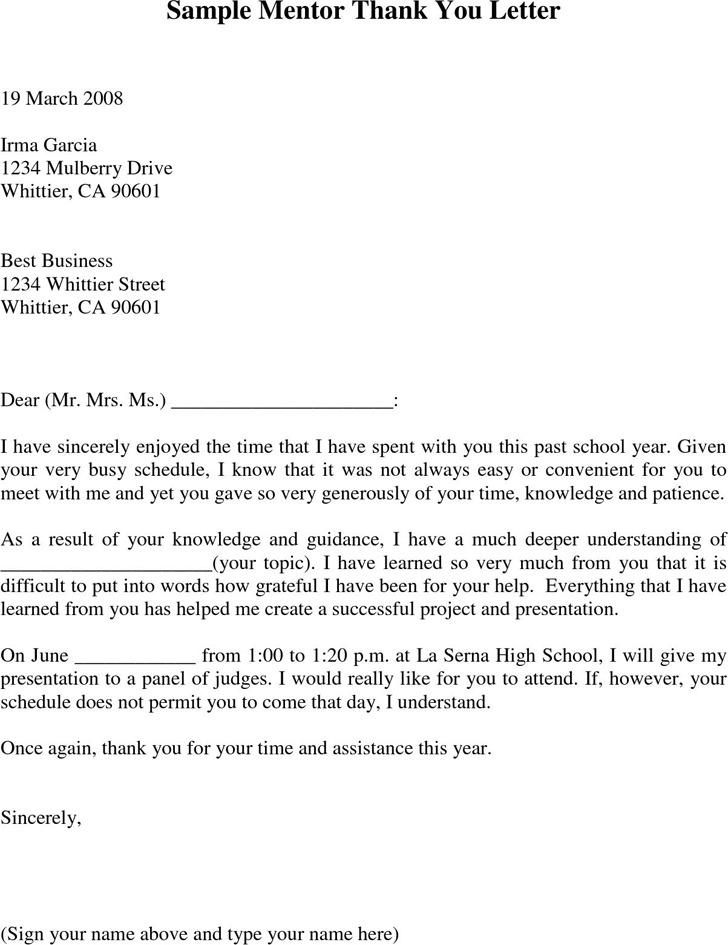 Sample Mentor Thank You Letter