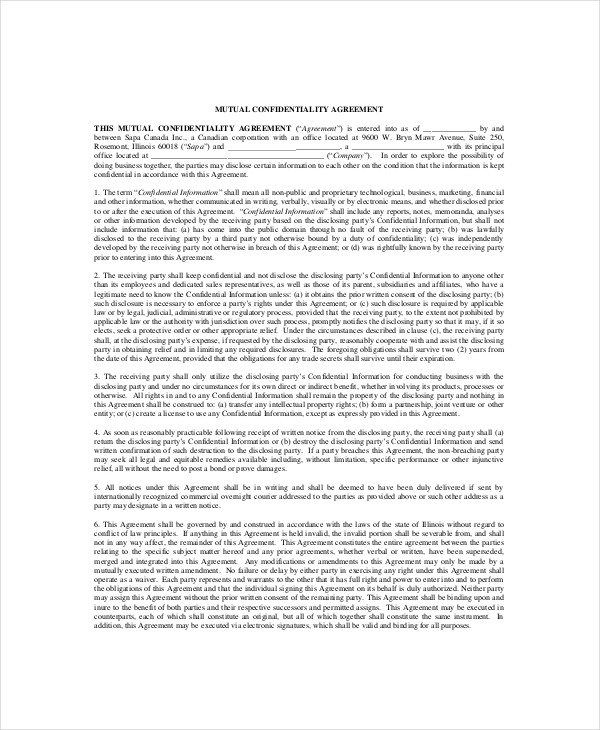 Sample Merger Mutual Confidentiality Agreement