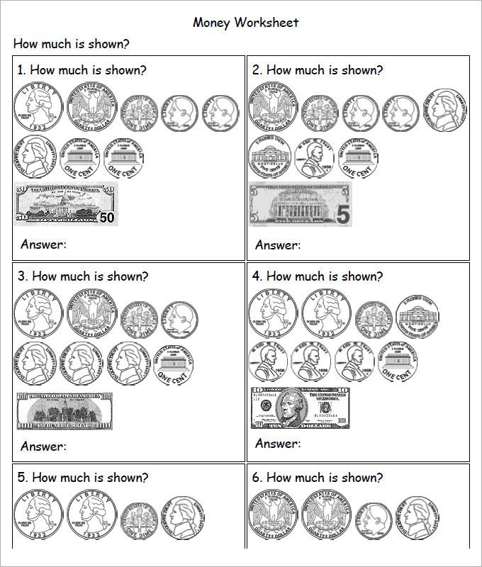 Sample Money Worksheets For Kids Template