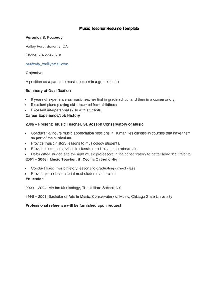 Sample Music Teacher Resume Template