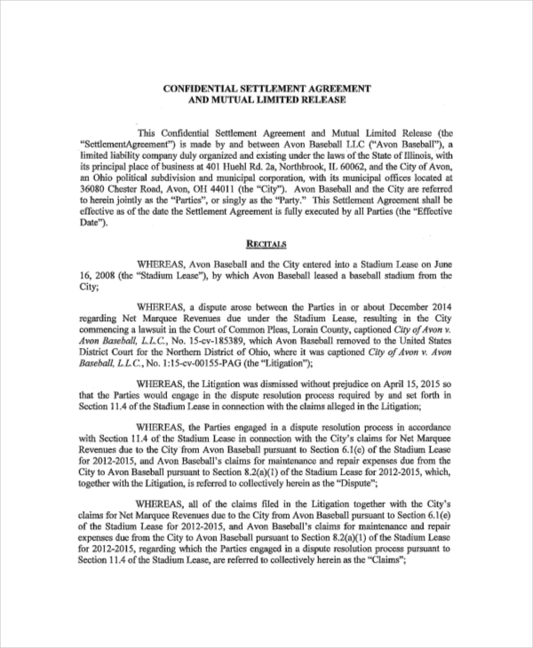 Sample Mutual Confidential Settlement Agreement
