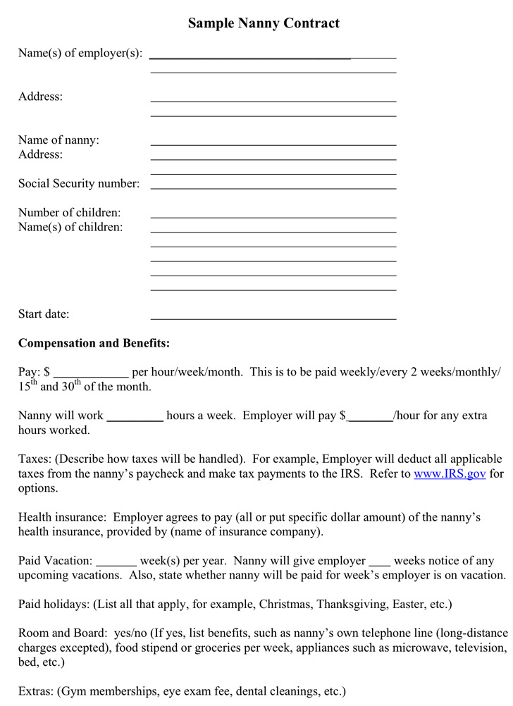 Sample Nanny Contract