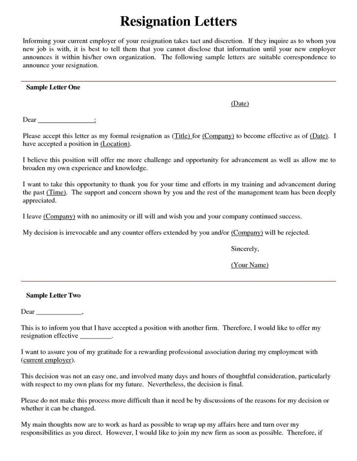 Sample Nursing Resignation Letter