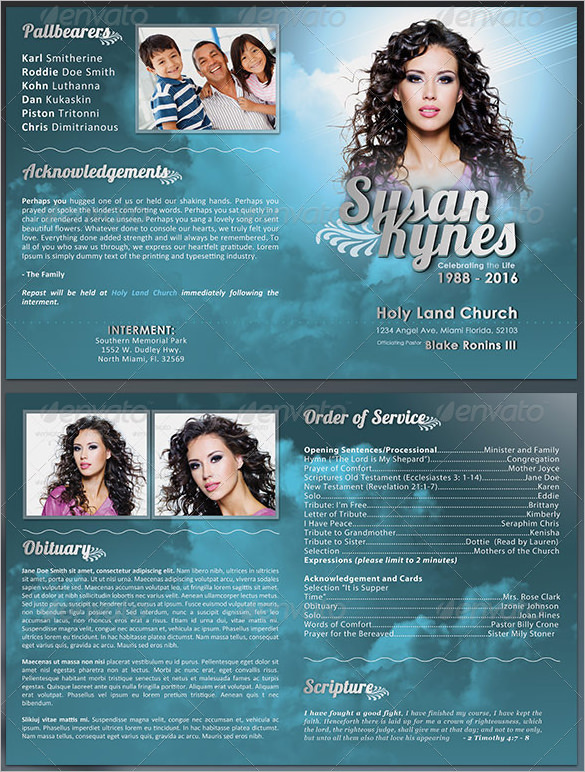 Sample Obituary Program Template for Celebrity