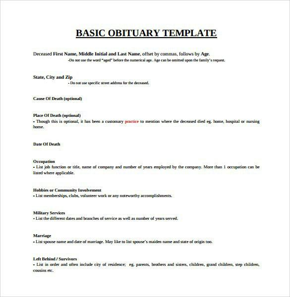 Download Obituary Template for Free - TidyTemplates