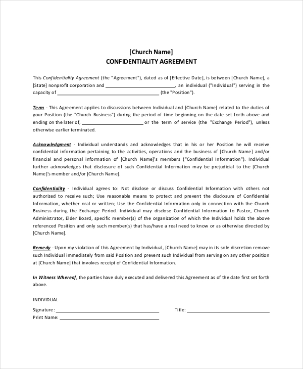 Sample Pastor Confidentiality Agreement