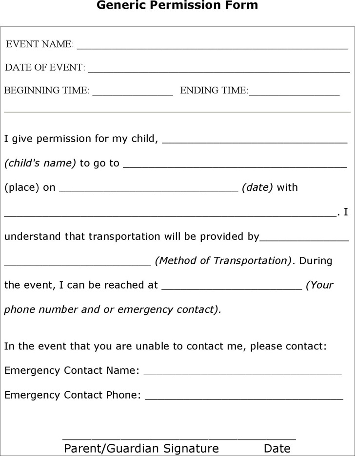 Sample Permission Form
