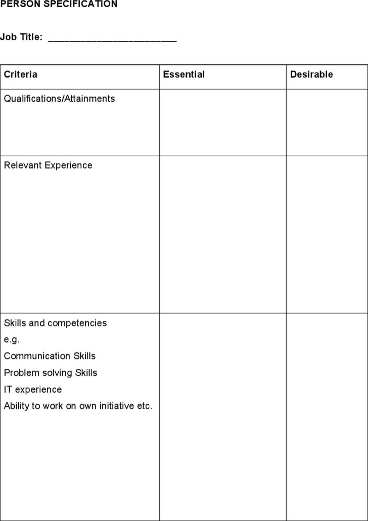 Sample Person Specification Document