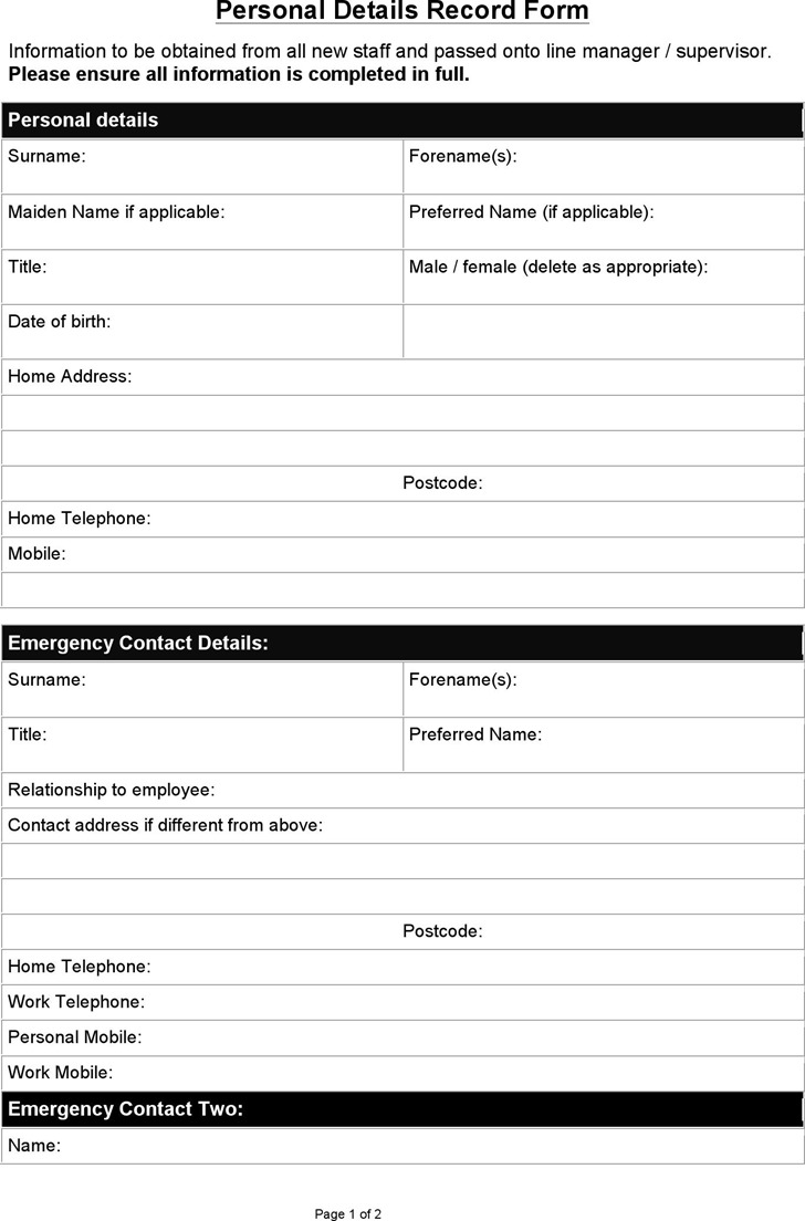 Sample Personal Details Record Form