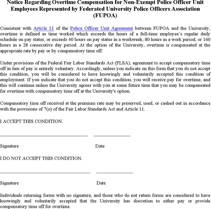 Sample Police Officer Unit Employees Notice