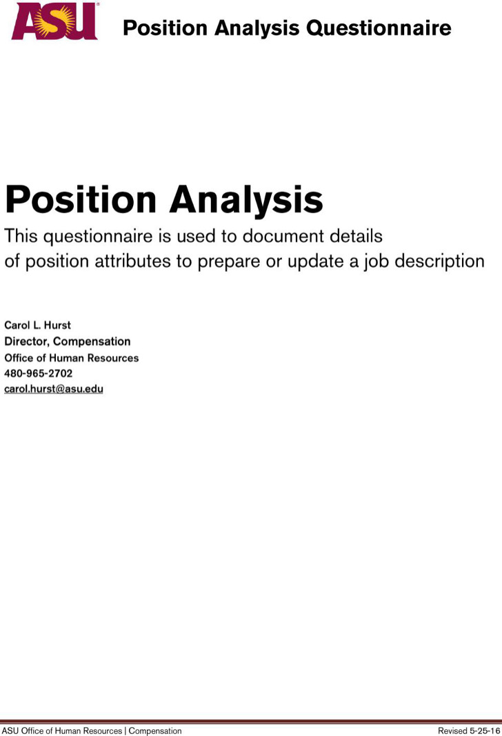 Sample Position Analysis Questionnaire