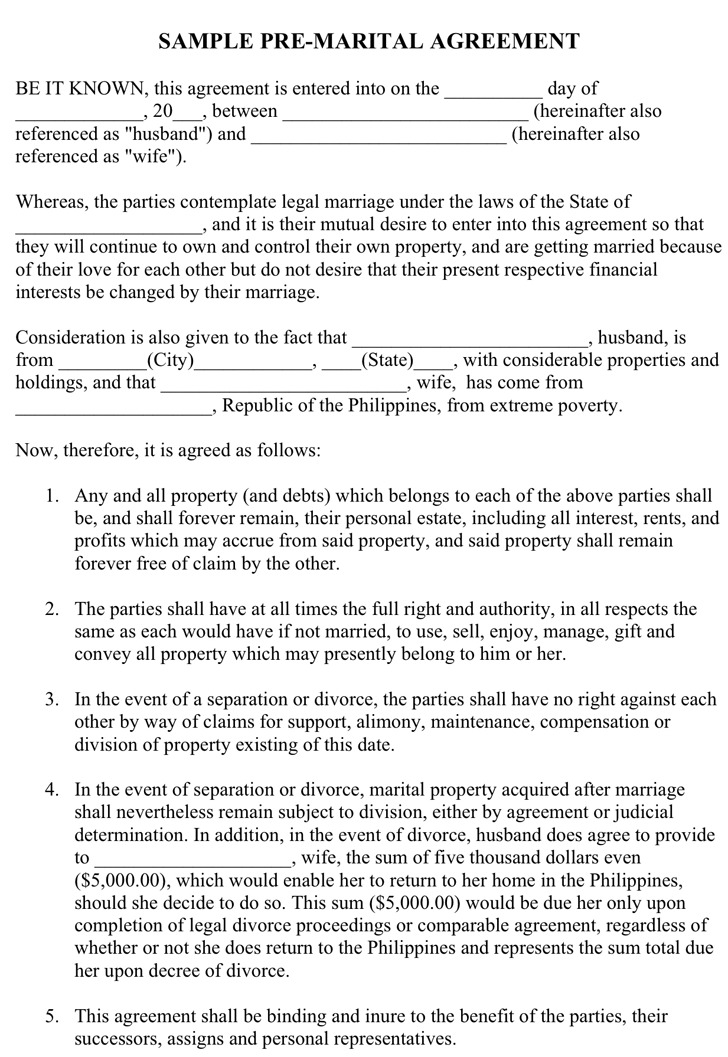 Sample Pre-Marital Agreement