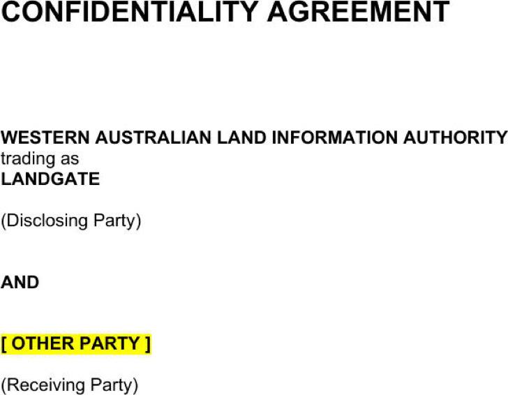 Sample Precedent Standard Confidentiality Agreement