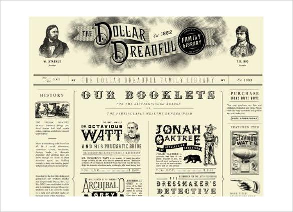 Sample Printable Dollar Dreadful Newspaper Template