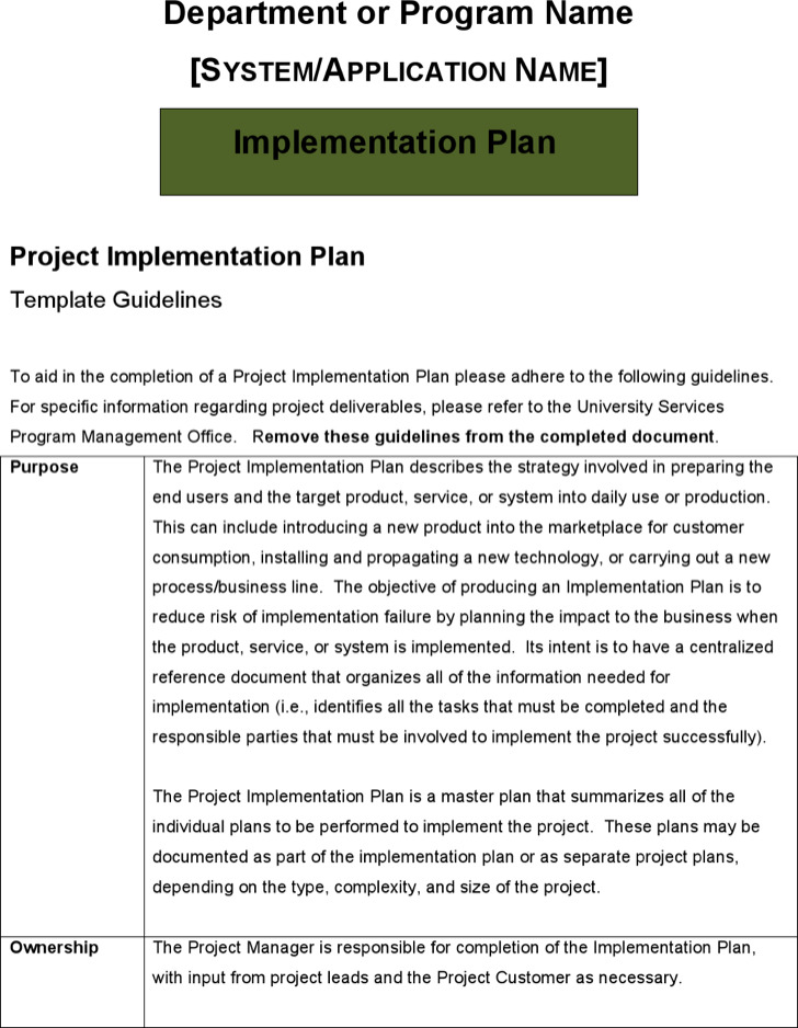 Sample Project Implementation Plan Template