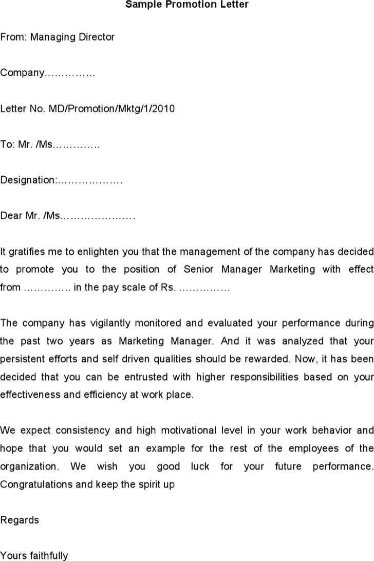 Sample Promotion Letter