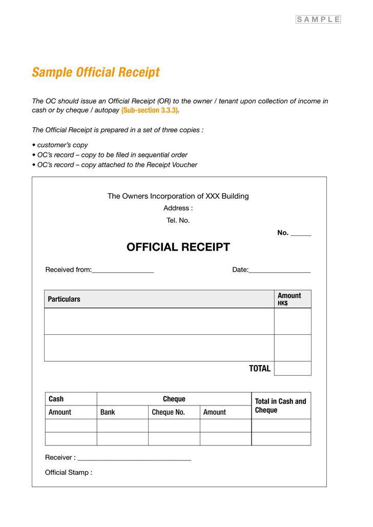 Sample Receipt PDF Download