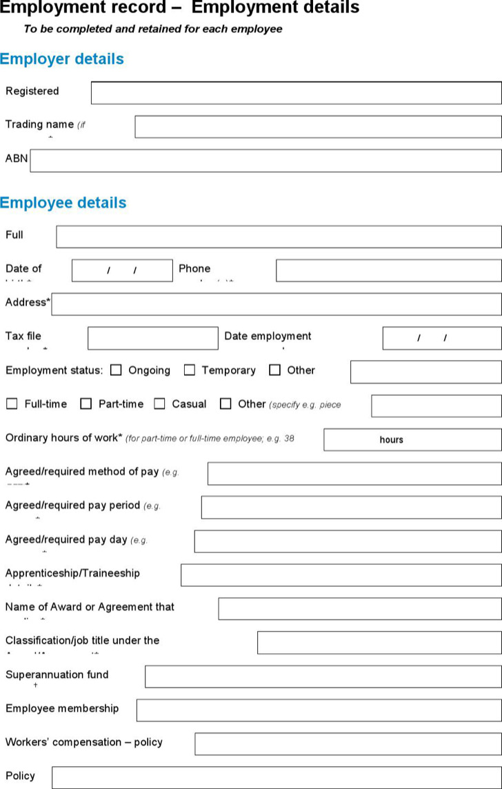 Sample Record Of Employee Details Template
