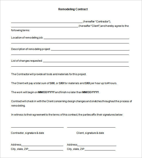Sample Remodeling Contract Agreement Template Free Download