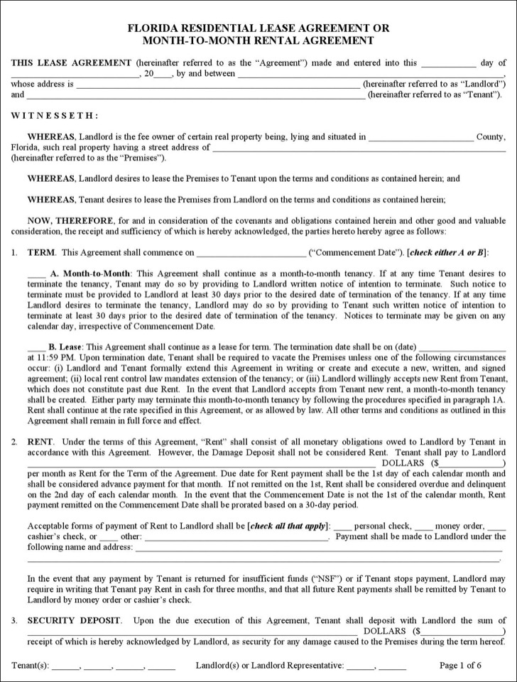 Sample Residential Lease Agreement Template