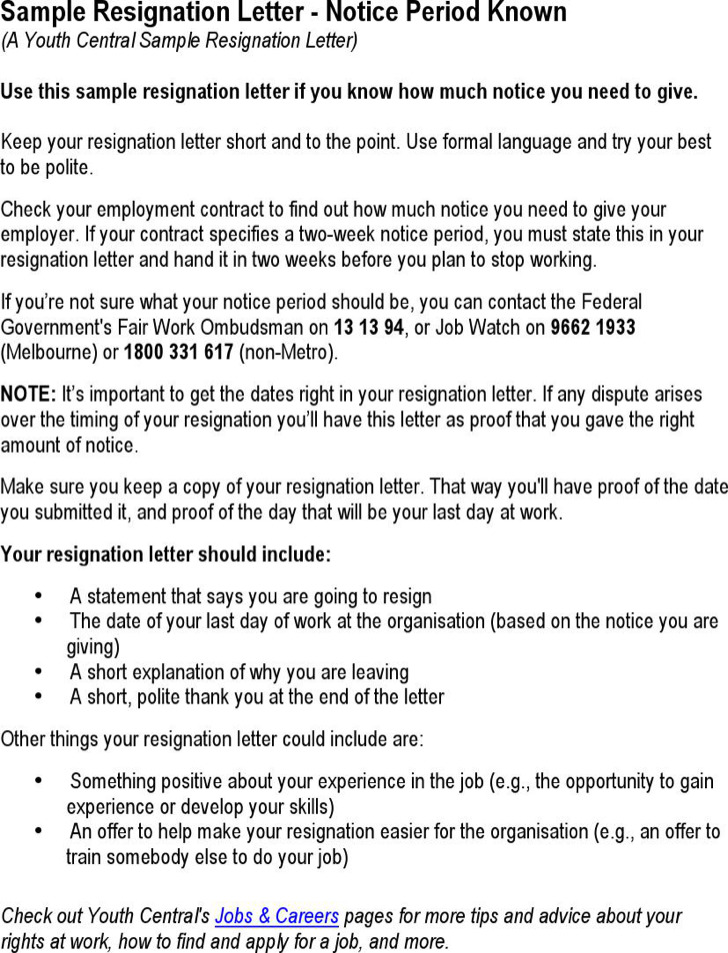Sample Resignation Letter Notice Period Known Pdf