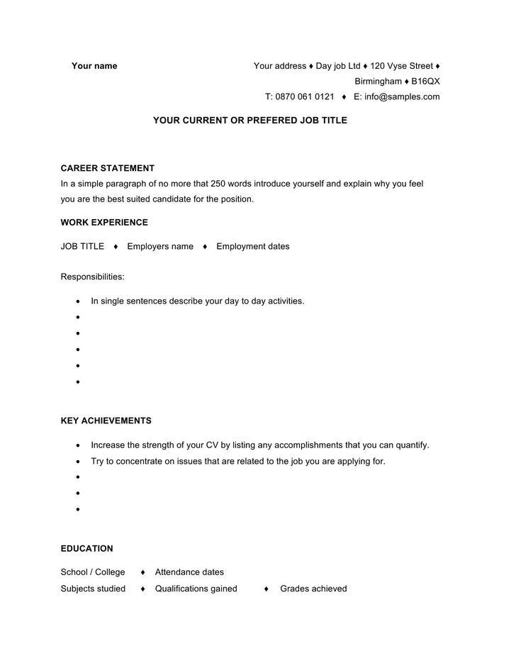 Sample Resume CV Template