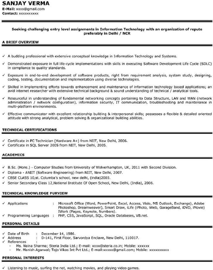 Sample Resume for Freshers 1