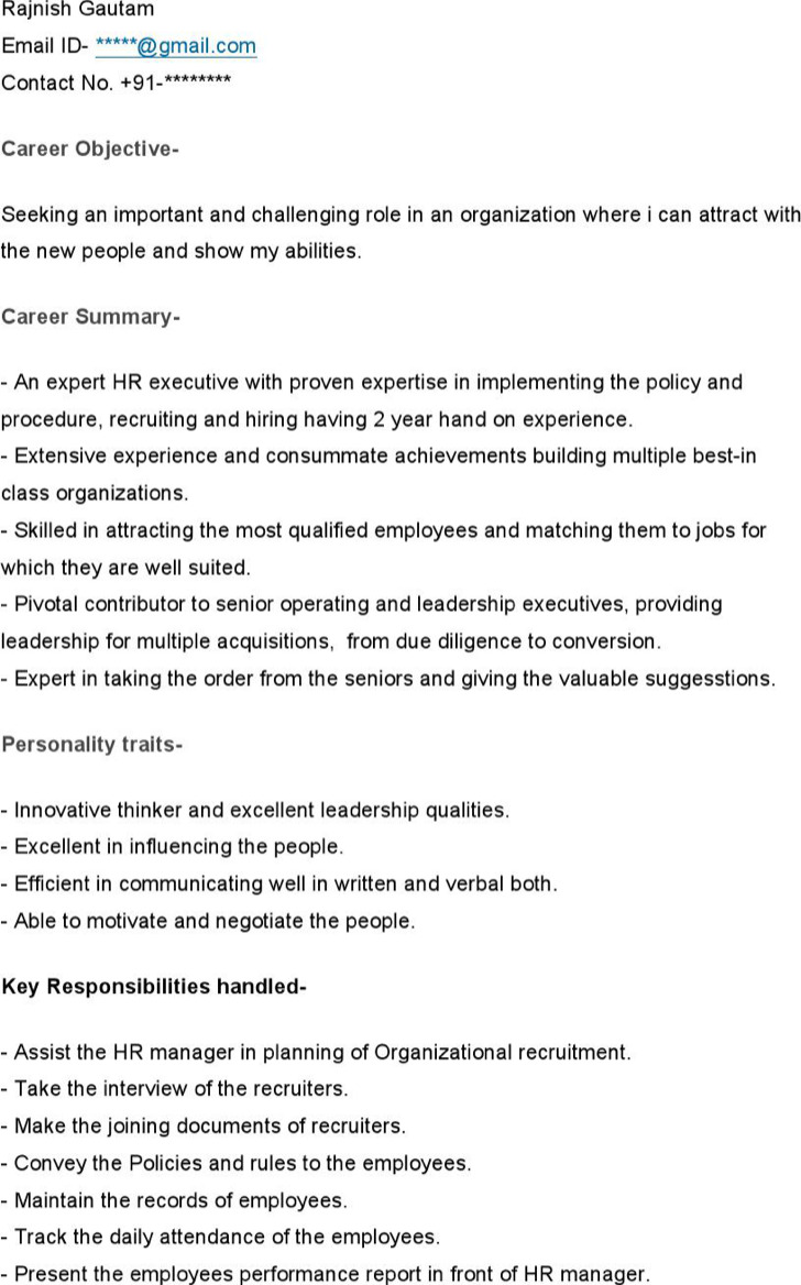 Sample Resume For Hr Executive