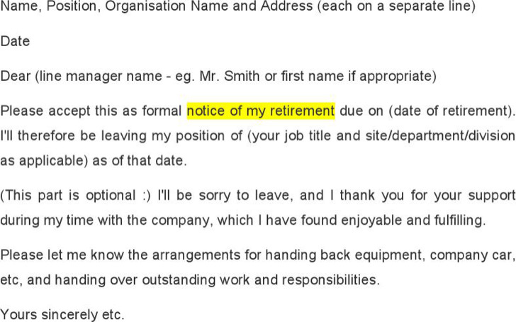 sample retirement notice letter