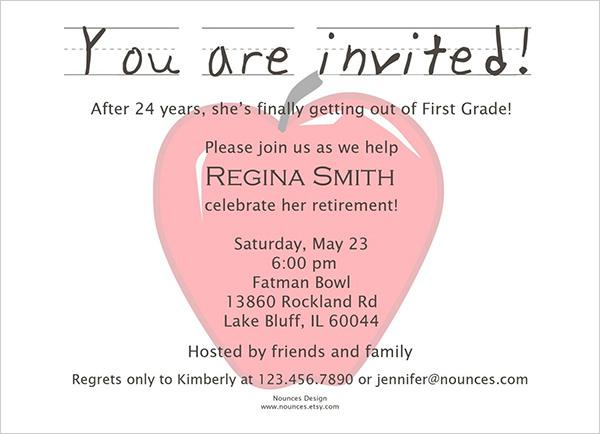 Sample Retirement Party Invitation