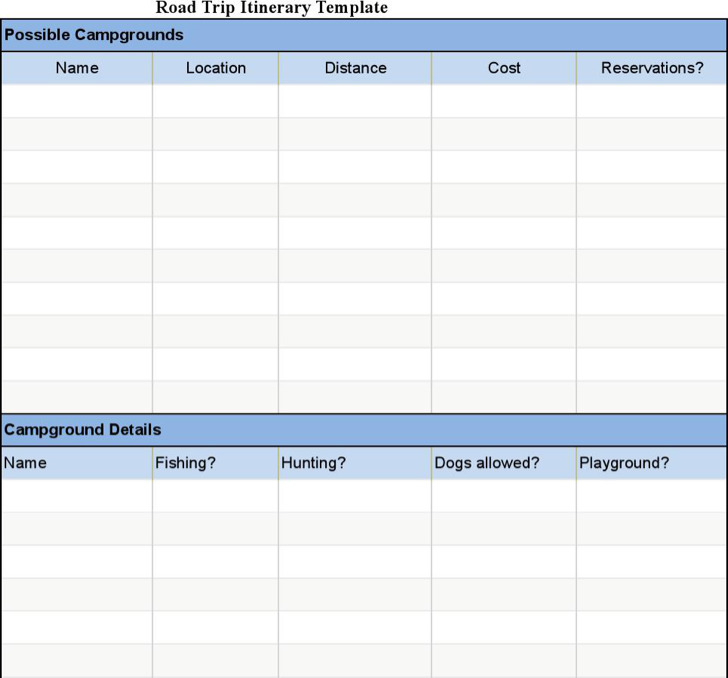 Sample Road Trip Itinerary Template Download Free Download